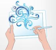 Création d'art de Digital : concept de technologie Comprimé et la HU portatifs Photo libre de droits