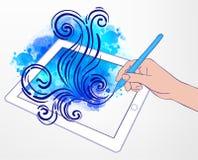 Création d'art de Digital : concept de technologie Comprimé et la HU portatifs Photographie stock libre de droits