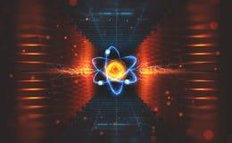 Création d'intelligence artificielle Expériences avec le collider hadronic Enquête sur la structure d'un atome illustration libre de droits