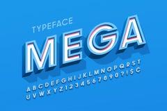Création de fonte, alphabet, lettres et nombres élégants de l'affichage 3d Photo stock