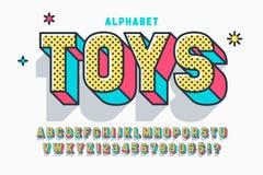 Création de fonte, alphabet, lettres et nombres comiques de l'affichage 3d illustration stock