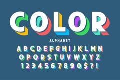 création de fonte, alphabet, lettres et nombres de l'affichage 3d illustration de vecteur