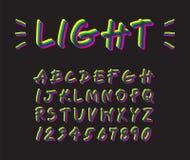 Création de fonte au néon colorée d'éclairage sur l'écriture majuscule instantanée noire et jaune d'alphabet, aspiration cyan mag Photos stock