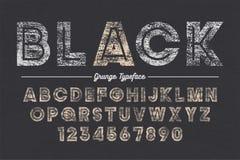 Création de fonte audacieuse décorative de vecteur audacieux supplémentaire, grunge, alphabet, oeil d'un caractère Images stock