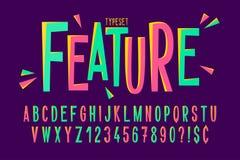 Création de fonte condensée comique à la mode, alphabet coloré Photo stock