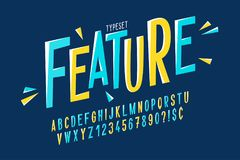 Création de fonte condensée comique à la mode, alphabet coloré Image stock