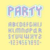 Création de fonte géométrique majuscule colorée de partie, alphabet anglais de polygone magenta cyan sur le fond jaune Images libres de droits