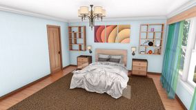 Création moderne 3D de conception intérieure de chambre à coucher illustration libre de droits