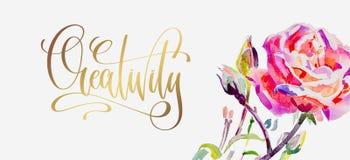 Créativité - affiche d'or de lettrage de main avec la rose lumineuse de rose Images libres de droits