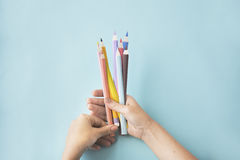 Créativité Art Paper Concept de conception de dessin au crayon de couleur photographie stock