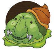 Créature bizarre d'escargot avec le sourire malfaisant et la boue, illustration de vecteur illustration de vecteur