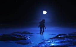 créature du zombi 3D au clair de lune Photographie stock