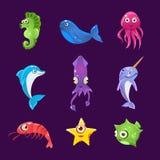 Créatures colorées de mer, ensemble d'illustration de vecteur Photo stock