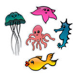 Créatures de mer Image libre de droits