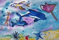 Créatures de mer peintes par l'enfant photo stock