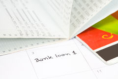 Crédit bancaire de rappel Photo stock