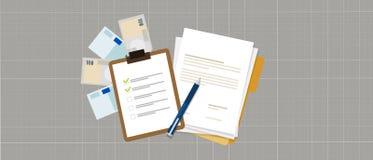Crédit de prêt d'argent de document de contrat de préparation de liste des tâches Image libre de droits