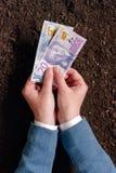 Crédito bancario en la moneda sueca para el inicio y el debel del negocio agrícola Fotos de archivo