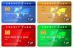 crédito de 4 colores o plantilla del diseño de tarjeta de débito Fotos de archivo