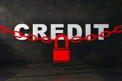 Crédito de la palabra en bloqueado con la cadena stock de ilustración