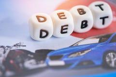 Cr?dito de pr?stamos para la deuda del coche - concepto del pr?stamo de coche imagenes de archivo