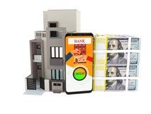 Crédito do conceito nos dólares para comprar o renderer 3d home no backg branco Fotos de Stock