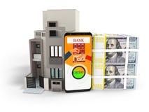 Crédito do conceito nos dólares para comprar o renderer 3d home no backg branco ilustração stock