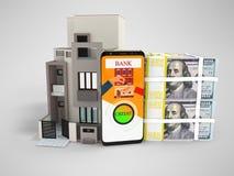 Crédito do conceito nos dólares para comprar o renderer 3d home no backgr cinzento ilustração royalty free
