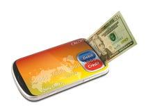 Crédito electrónico del teléfono elegante y pago de la tarjeta de débito Fotografía de archivo libre de regalías