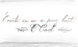 Créez dans moi Dieu pur du coeur O que la main de calligraphie écrivent comme art de christianisme de vers de bible Photo stock