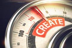 Créez - le texte sur le cadran conceptuel avec l'aiguille rouge 3d Images stock
