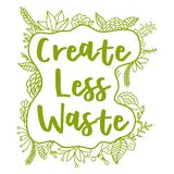 Créez moins de déchets Concept de rebut zéro Illustration de vecteur illustration de vecteur
