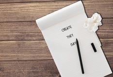Créez sur le papier Photo libre de droits