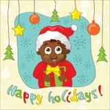 Créez une carte de Noël de style du vintage avec l'enfant illustration stock