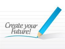 Créez votre avenir écrit sur un livre blanc. Photo stock