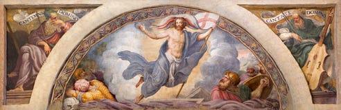 CRÉMONA, ITALIA, 2016: El freso de la resurrección de Jesús en los di Santa Rita de Chiesa de Giulio Campi (1547) Imagen de archivo