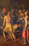 CRÉMONA, ITALIA, 2016: La degollación de St John la pintura baptista en catedral de Bernardino Campi Foto de archivo