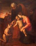 CRÉMONE, ITALIE, 2016 : La peinture de la famille sainte en Chiesa di San Agostino par Maria Zupelli Images libres de droits
