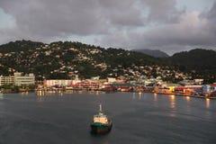 Crépuscule à Castries, Sainte-Lucie, île des Caraïbes Image libre de droits