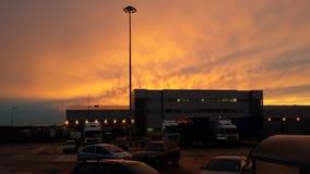 Crépuscule à l'aéroport Photographie stock libre de droits