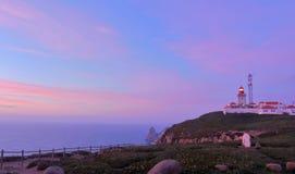 Crépuscule au phare DA Roca, Cascais Photographie stock
