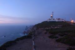 Crépuscule au phare DA Roca, Cascais, Images stock