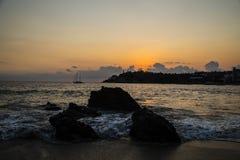 Crépuscule chez Puerto de Escandido, Oacxaca, Mexique Photo stock