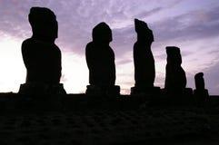 Crépuscule d'île de Pâques Images libres de droits
