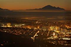 Crépuscule d'admission de Burrard, Baker de bâti, Vancouver Photo stock