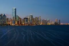 Crépuscule d'horizon de Miami Photographie stock