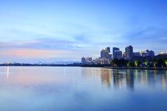 Crépuscule de lac Yundang, adobe RVB Image libre de droits
