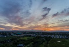 Crépuscule de matin de Bangkok de bourdon Images stock