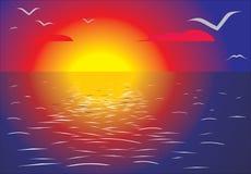 Crépuscule de mer. illustration de vecteur