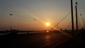 Crépuscule de sseldorf de ¼ de DÃ au pont Image libre de droits